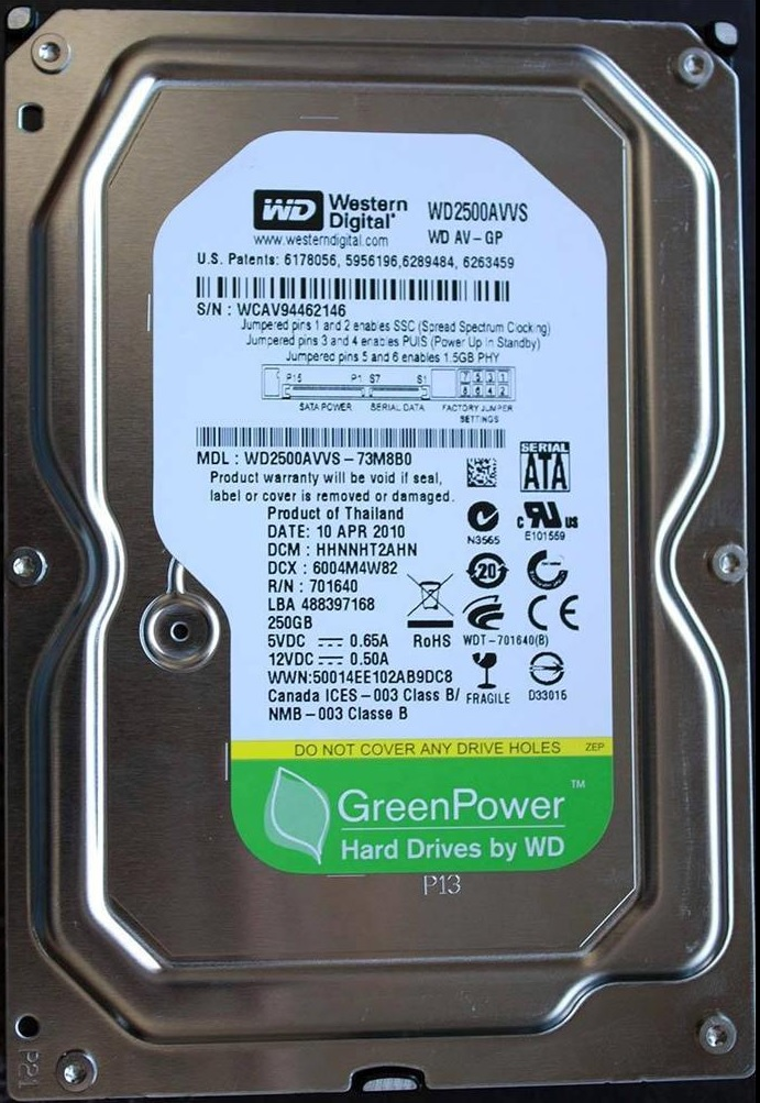 WD green 250GB pulled 2